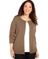 August Silk Plus Size Blend Cardigan Camel Toffee