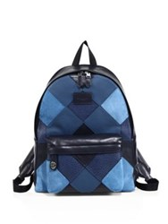 Coach Suede Patchwork Backpack Blue