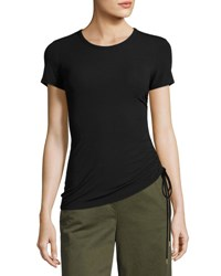 Theory Jilaena T Ruched Side Ribbed T Shirt Black
