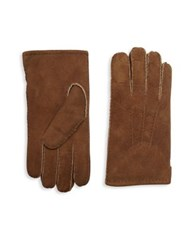 Saks Fifth Avenue Suede Shearling Gloves Tan Black