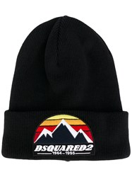 Dsquared2 Logo Embroidered Beanie Hat Men Wool One Size Black