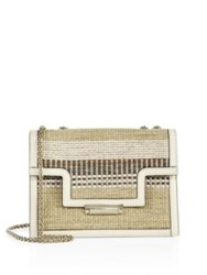 Aerin Straw Embroidered Leather Crossbody Bag Natural