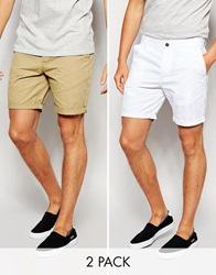 Asos 2 Pack Chino Shorts In Mid Length Save 17 Stonewhite