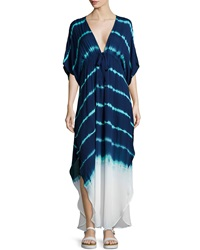 Young Fabulous And Broke Young Fabulous And Broke Julie Tie Dye Drawstring Maxi Dress Green Navy Shorebreak