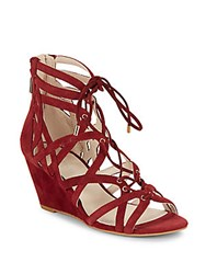 Kenneth Cole Dylan Lace Up Wedge Sandals Brick