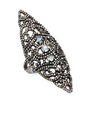 Bavna Moonstone Champagne Diamond And Sterling Silver Ring