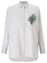 Marella Magma Embroidered Stripe Shirt White Grey