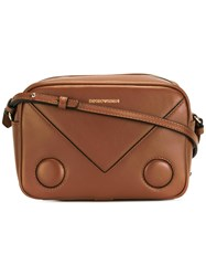Emporio Armani Logo Print Shoulder Bag Brown