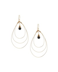 Rafia 3 Hoop Teardrop Earrings W Black Onyx Center Golden