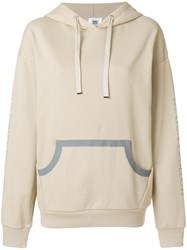 Closed Slogan Sleeve Hoodie Nude And Neutrals