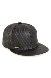 Steve Madden Women's Perforated Faux Leather Baseball Cap