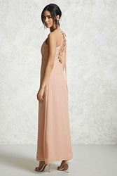 Forever 21 Chiffon Lace Up Maxi Dress Nude