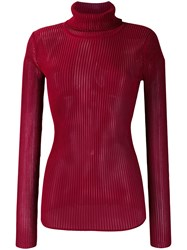 Victoria Beckham Roll Neck Knitted Top Red
