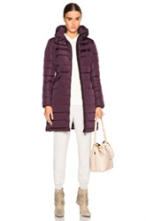 Moncler Flammette Long Coat In Purple