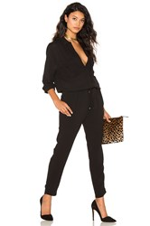 Stella Forest Collared Long Sleeve Jumpsuit Black