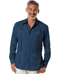 Cubavera Linen Guayabera Shirt Dress Blue