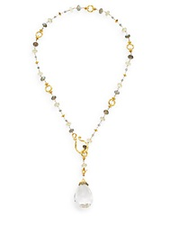 Azaara Semi Precious Multi Stone Briolette Drop Necklace Gold Multi