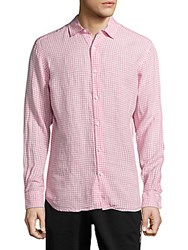 Saks Fifth Avenue Casual Gingham Linen Shirt Pink