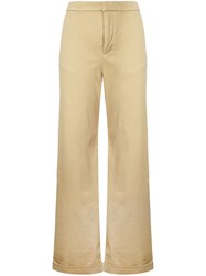 Estnation High Waisted Trousers Women Cotton Polyurethane 38 Brown
