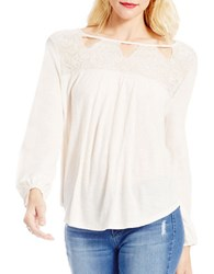 Jessica Simpson Fifi Long Sleeve Lace Top White