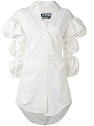 Jacquemus Gathered Puffy Sleeves Dress Women Cotton 34 White