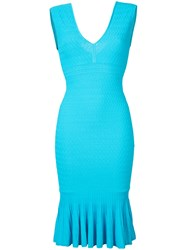 Jay Godfrey V Neck Fitted Dress Blue