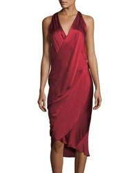 Urban Zen V Neck Sleeveless Draped Silk Charmeuse Dress Red
