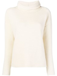 Fabiana Filippi Ribbed Turtleneck Sweater Nude And Neutrals