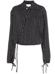 Telfar Drawstring Hem Striped Cotton Shirt Black