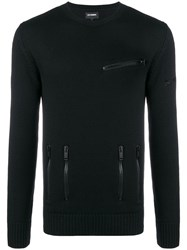 Les Hommes Fine Knit Fitted Sweater Black