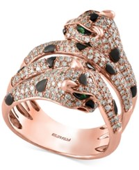 Effy Diamond 1 Ct. T.W. And Tsavorite Accent Panther Ring In 14K Rose Gold Rose Gld