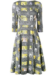Olympia Le Tan Boat Neck Dress Cotton Grey