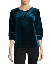 Nanette Nanette Lepore Smocked Neck 3 4 Sleeve Velvet Top Green