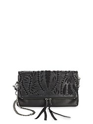Ash Indica Leather Crossbody Clutch Off White