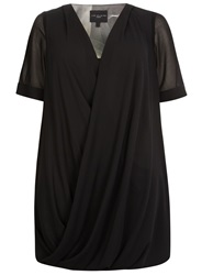 Evans Plus Size Live Unlimited Wrap Front Top Black