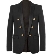 Balmain Black Slim Fit Double Breasted Cotton Blazer Black