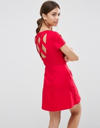 Daisy Street Skater Dress With Cross Back Red