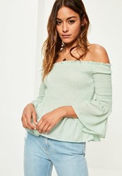 Missguided Green Shirred Short Sleeve Bardot Frill Blouse Mint