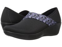 Crocs Busy Day Asymmetrical Graphic Wedge Black Floral Women's Wedge Shoes