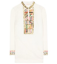 Tory Burch Embroidered Linen And Cotton Tunic White
