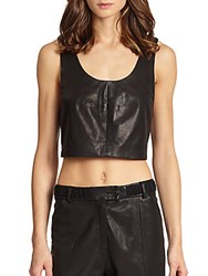 Thakoon Cropped Leather Tank Top Black
