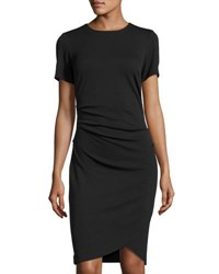 Catherine Malandrino Short Sleeve Side Ruched Dress Black
