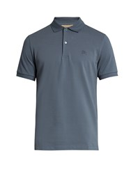 Burberry Oxford Logo Embroidered Cotton Polo Shirt Light Blue