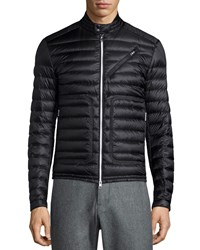 Moncler Picard Quilted Nylon Moto Jacket Black