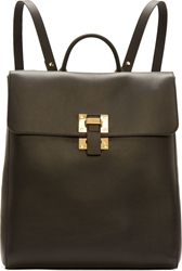 Sophie Hulme Black Smooth Grained Calf Leather Rucksack