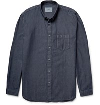 Folk Button Down Collar Cotton Chambray Shirt Blue