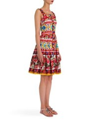 Dolce And Gabbana Sleeveless Printed Poplin Button Front Apron Dress Red Caretto