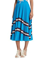 Valentino Jersey Lycra Plisse Midi Skirt With Lace Blue