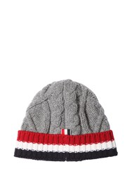 Thom Browne Wool Cable Knit Hat W Stripes