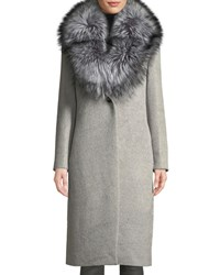 Cinzia Rocca Fox Fur Collar Single Breasted Baby Alpaca Coat Gray